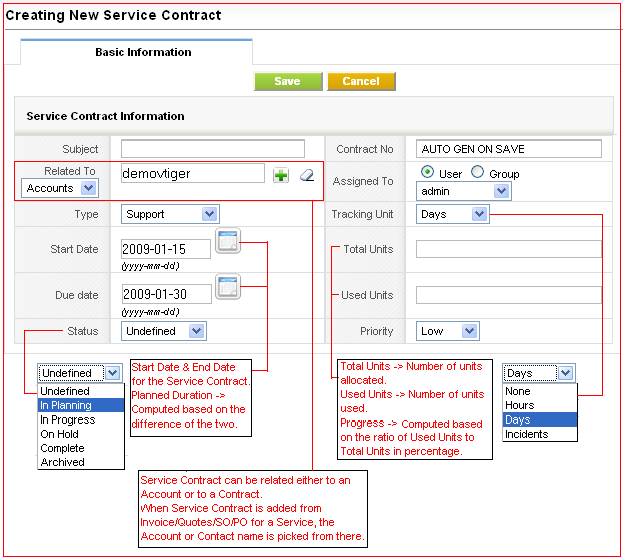 Service Contracts vtiger – Service Contract