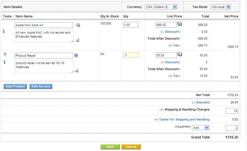 invoice module - vtiger, Invoice examples