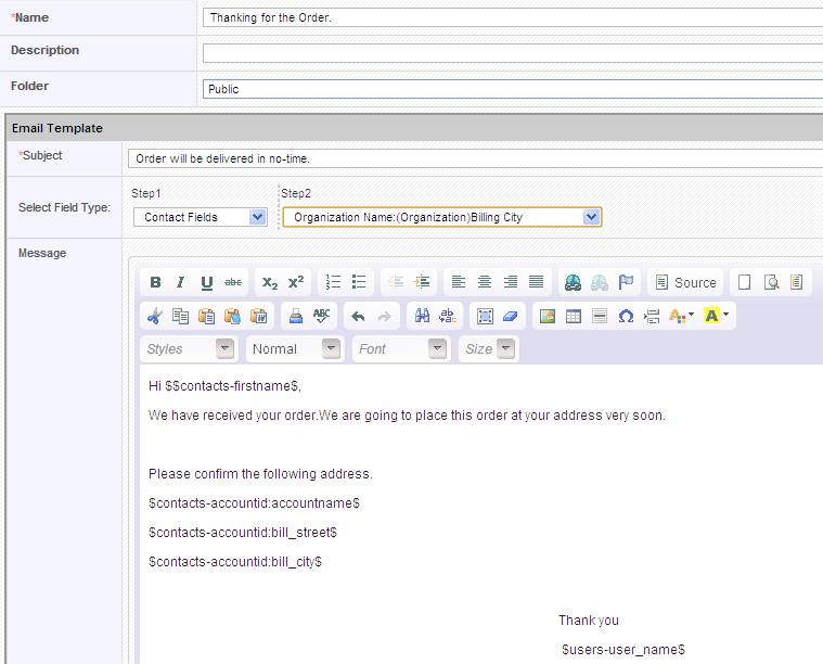 Email Templates - vtiger