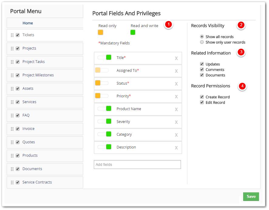 customer portal - vtiger, Invoice examples